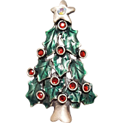 Christmas Tree Brooch Red Rhinestones in Enamel Minty
