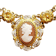 Carved Italian Cameo Necklace Cannetille 800 European Silver Vermeil Italy