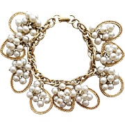 1950s - 1960s Charm Bracelet Cha Cha Hearts Faux Pearls Mid Century