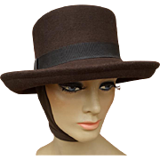 Brown Felt Women's Fedora Attached Scarf Winter Warm Size Medium