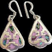 Pierced Earrings Native American Motif Arrow Head Inlay