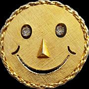 Vintage Smiley Face Brooch or Pendant Dangling Rhinestones Eyes True Vintage