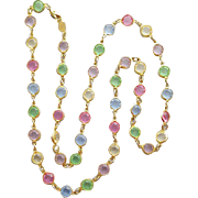 Long Swarovski Necklace Bezel Set Austrian Crystals Pink Blue Lavender Green Yellow