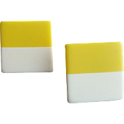 1970s Pierced Earrings Mod Design Laminated Lucite Yellow and White