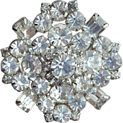 Huge Crystal Rhinestone Brooch 1950s - 1960s Spectacular Sparkle
