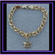 14k Gold Charm Bracelet 14k Gold Deputy U.S. Marshal Badge Charm Western Theme