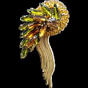 Dramatic Rhinestone Brooch Navettes Magnificent Metal Fringe