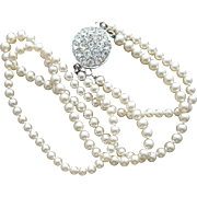 Vintage Faux Pearl Necklace Unique Rhinestone Reversible Clasp Signed