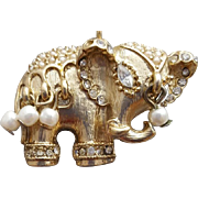 Indian Parade Elephant Pendant Necklace Long Interesting Chain