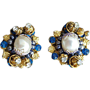 1960s Clip Earrings Faux Pearls Blue Rhinestones Elaborate Details