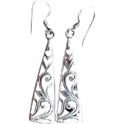 Sterling Silver Earrings Pierced Shadow Box Construction 5.7 Grams