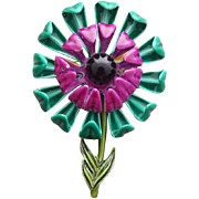 Awesome Enamel Metal Flower Brooch Teal Plum Purple 1960's
