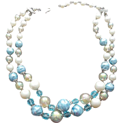 1960s Necklace Double Strand Beads with Crystals for Spring