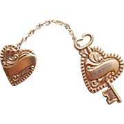 Sweetheart Chatelaine Brooch Key and Double Hearts