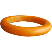Vintage Bakelite Bangle Bracelet Marbled Sunrise Stunner
