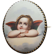 Huge Porcelain Angel Brooch Hand Painted Cherub Victorian Era Valentine's Day