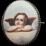 Huge Porcelain Angel Brooch Hand Painted Cherub Victorian Era