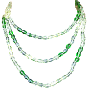 1970s Glass Bead Necklace Extra Long or Triple Loop Mint