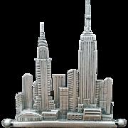 New York City NYC Skyline Brooch Empire State U.N. Pewter 1988 JJ