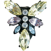 Rhinestone Dress Clip Butterfly Vintage Insect Jewelry