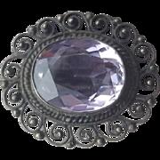 Antique Edwardian Amethyst in .800 Silver Cannetille 4.5 Grams