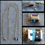 14k Gold Necklace 7.4 Grams Semi Precious Stone Enhancer Turquoise Amethyst