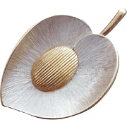 Sophisticated 1960s Brooch Silver and Gold Tone Brushed Metal