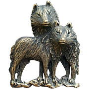 Timber Wolves Brooch Bronze Finish by J.J. Jonette