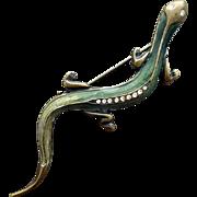 Enamel Lizard or Gecko Brooch with Rhinestones Reptile Pin