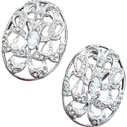 Vintage Rhinestone Clip Earrings Napier Sparkle