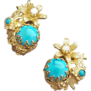 1960s Earrings Faux Turquoise Faux Pearl Faux Gold Real Glamour