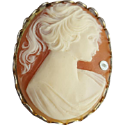 1960s Cameo Brooch Lovely Lady Faux Shell Costume
