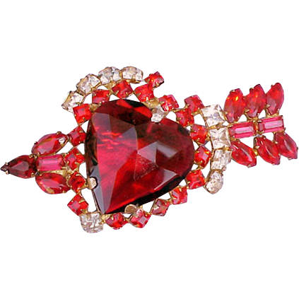 Red Heart with Arrow Rhinestone Brooch 1940s Sterling - Vermeil Valentine's Day