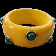 Massive Vintage Yellow Bakelite Bangle Bracelet Green Cabochon Dots