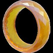Extra Wide Faceted Bakelite Bangle Bracelet Golden Honey