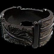 Rare Stepped Bakelite Bangle Bracelet Fully Carved Midnight Black