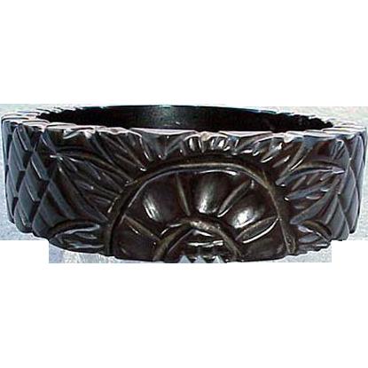 Fully Carved Black Bakelite Bangle Bracelet True Vintage Licorice Color