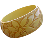 Extra Wide Bakelite Bangle Bracelet Deeply Carved Creamed Corn
