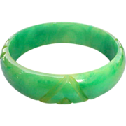 Carved Marbled Green Bakelite Bangle Bracelet Vintage Tested