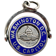 Sterling Silver Blue Enameled Travel Charm Washington D.C. Capitol Moves