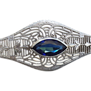 Authentic Art Deco Sterling Silver Bracelet Sapphire Rhinestone Esemco