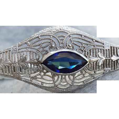 Authentic Art Deco Sterling Silver Bracelet Sapphire Rhinestone Esemco