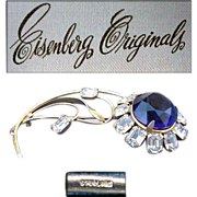 Huge Eisenberg Originals Rhinestone Brooch Sterling Silver Vermeil