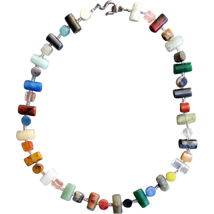 Natural Semi Precious Gemstone Necklace with Sterling Clasp