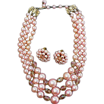 1960s Pink Demi Parure Triple Strand Bead and Crystal Necklace with Earrings