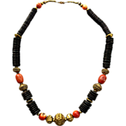 Long Dramatic Necklace Chunky Tribal Ethnic Design Brass Shell