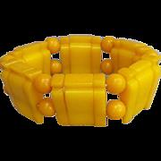 Vintage Golden Yellow Bakelite Stretch Bracelet Small Medium Large