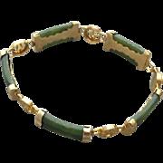 Vintage Chinese Jade Link Bracelet Smaller Size Good Fortune