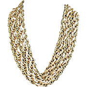 Dramatic Vintage Necklace 5 Strands Lightweight Gold Tone Chain