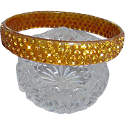 1920s Celluloid Rhinestone Bangle Bracelet Golden Stones
